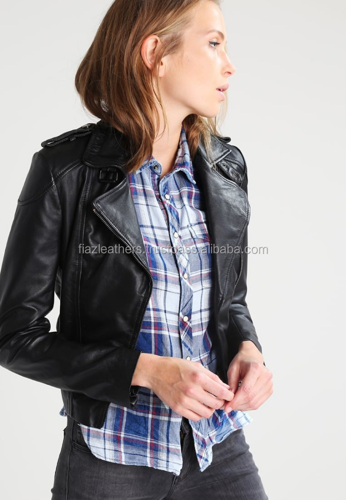 Winter Women Coat Motorcycle genuine Leather Jacket custom made low moq