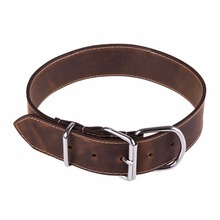 soft touch collar,high quality genuine leather studded dog collar