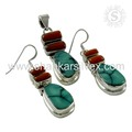 Beguiling Coral Turquoise Jewelry Set Handmade Silver Jewelry Set Supplier 925 Sterling Silver Jewelry India
