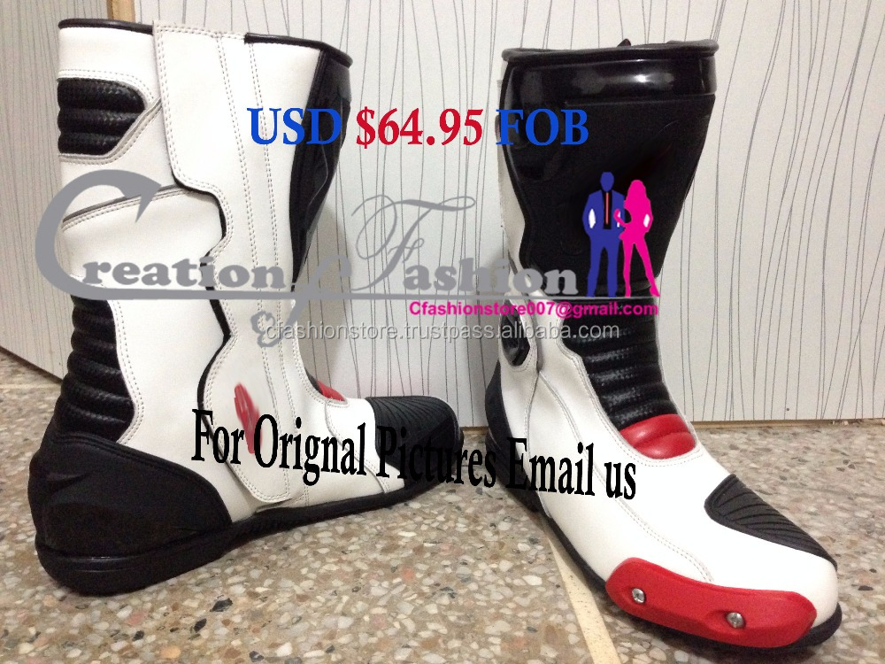 White Red Black Motorbike MotoGP Racing Men Boots All Sizes USD $64.95 FOB Boot