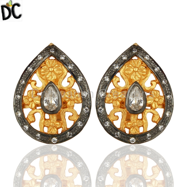 White CZ Cubic Zirconia Pear Shape Sterling Silver 14K Gold Plated Stud Earrings