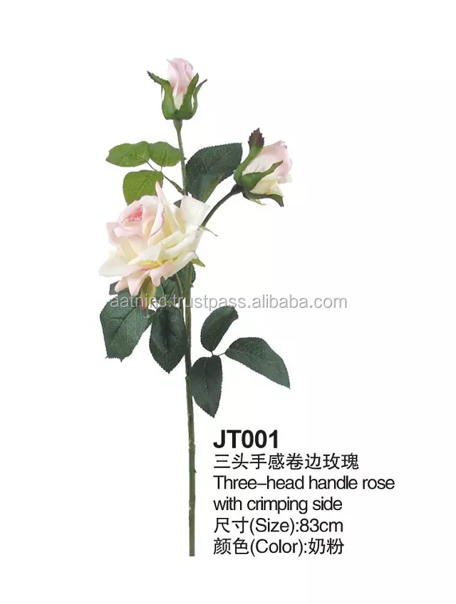 New names of flowers used for decoration 3 heads rose flowers artificial