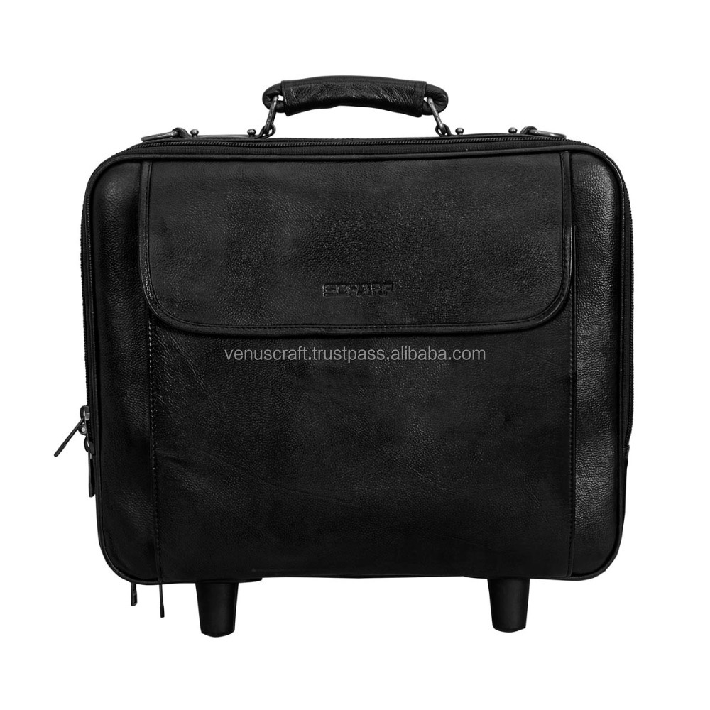 real leather luggage bag men's business trolly luggage four wheels trolly luggage bags