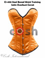 Overbust Orange Polyester Satin Steel Boned Waist Training Corsets Supplier And Manufacturer From Cosh International Pakistan