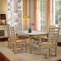 Furniture Dining Table Set Country Style with High back Chair Sea grass webbing seater 4 Chair and 2 chair with arm
