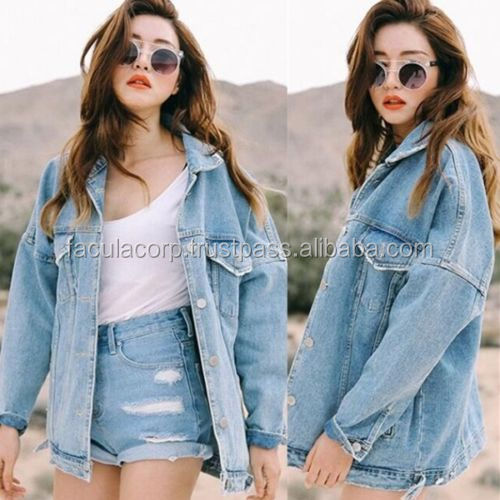 Women Boyfriend Loose Jacket Casual Oversize Denim Jeans Coat Outwear New FC-1505