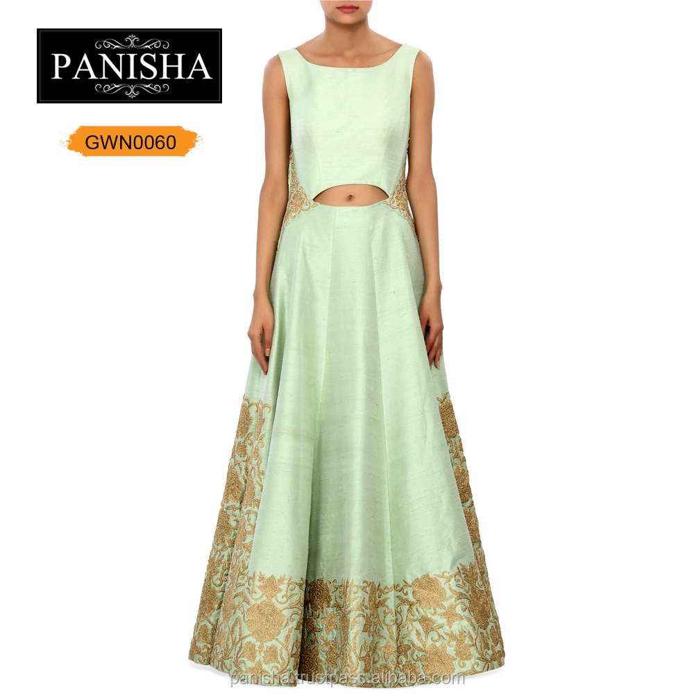 Pista Green Suit Embellished In Zari Embroidery