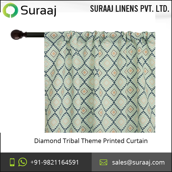 Eye Catching Diamond Tribal Theme Printed Curtain at Wholesale Price