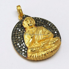 Stylish Buddha !! Shape 18k Diamond Silver Pendant, Indian Handmade Silver Jewellery, Online Silver Diamond Jewelry