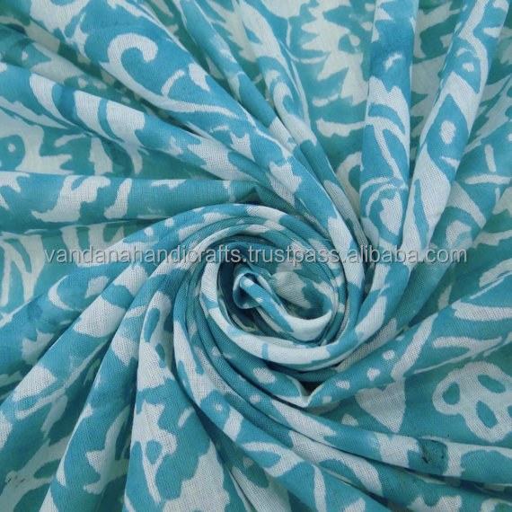 Cotton Hand Block Printed fabrics Sanganeri Jaipuri Fabric Textile / Fabric / 100% Cotton