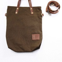 Simple Canvas Leather Long Rope Tote