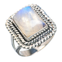 Natural rainbow moonstone desiginer ring 925 sterling silver jewellery