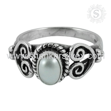 Radiance Freshwater Pearl Gemstone Ring Semi Precious Indian Silver Jewelry 925 Sterling Silver Ring
