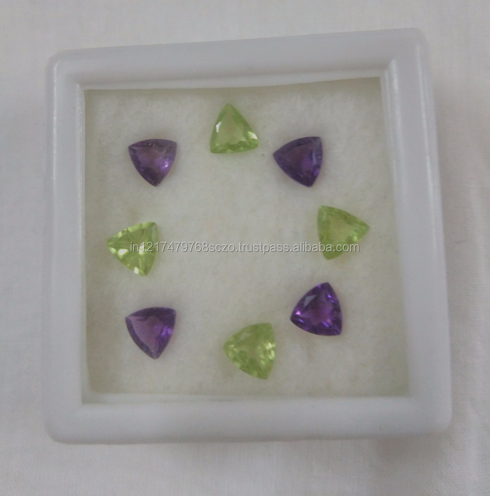 Trillion Cut Amethest and Peridot Semi Precious Stone Box