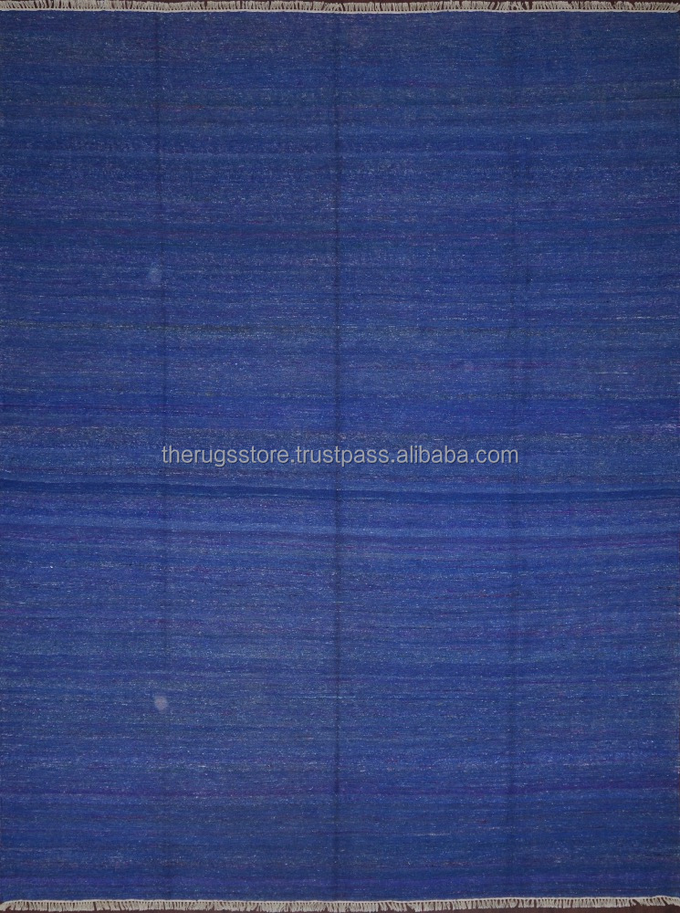 Light Weight Easy Foldable Indigo Blue Orange Yellow Magenta Red Hand Knotted Handmade Silk Indian Dhurries Area Rug