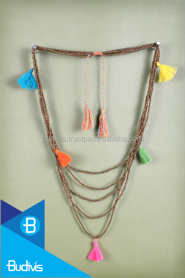 Top multi strand beaded necklace with tassel