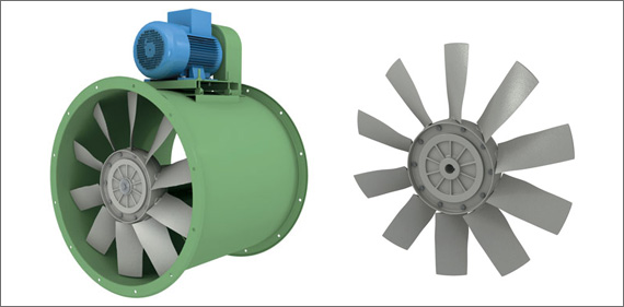 ACI EVc 1250 Transmission-drive axial-flow fan with light alloy die-cast impeller with wing-profile blades. Motor placed outside