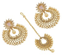 Beautiful Gold Plated Charming Look Maang Tikka With Earrings For Women Wedding Jewelry