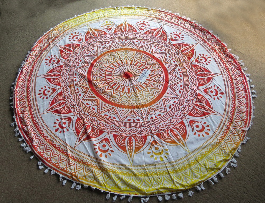 mandala round tapestry popular indian yoga mat cotton beach blanket