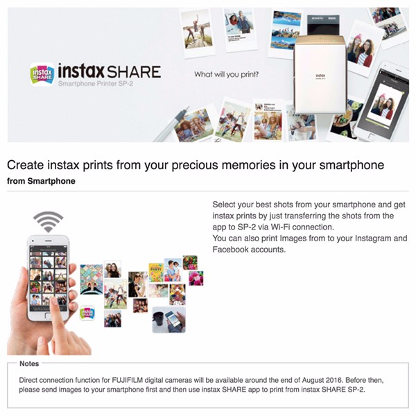 Fujifilm Instax SHARE SP-2 Smartphone Printer - Gold