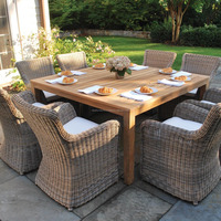 Teak Dining Table and Rattan Outdoor Furniture