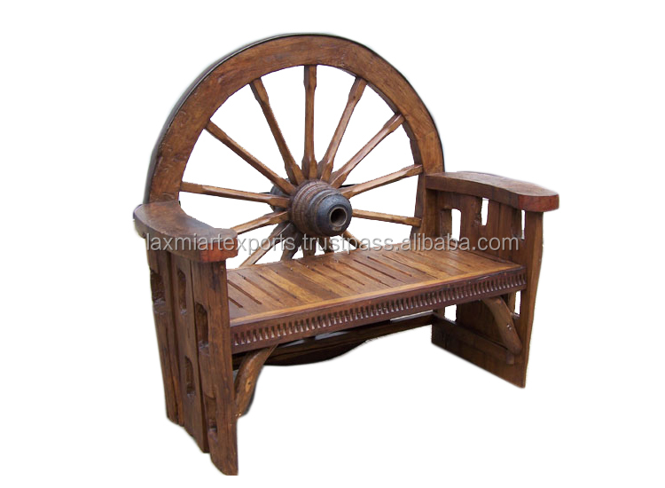 Reclaimed Wood Wagon Wheel Sofa Bench Chair Garden And Park Wood Bench Manufacturer Wholesale Supplier