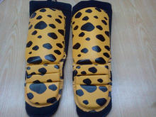 Professional MMA Shin Guards with cheetah printing, Leather Shin Guards Fighting