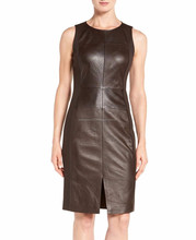 Leather customized fashion lady dress, Hot Sell fashion women short black leather dress