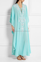 Theia embellished silk kaftan