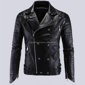 Perfect 2017 Spring Fashion Male Skull Motorcycle leather jacket (FL-2103)