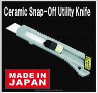 Ceramic hobby blades utility knife, non-corrosive, cuts paper, cardboard, film, rubbers, stays sharp, made in Japan