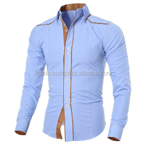 Mens front piping style dress shirt