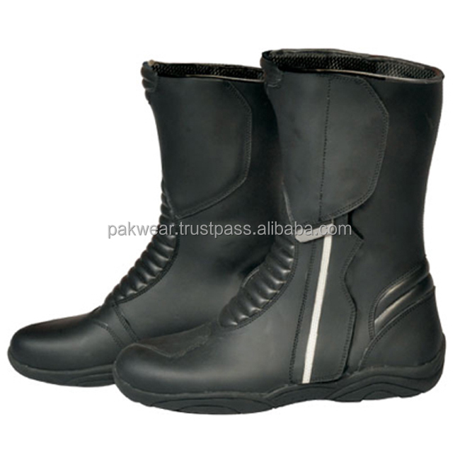 Motorbike Touring Leather Boots with reflector stripes / Style-PW-1010