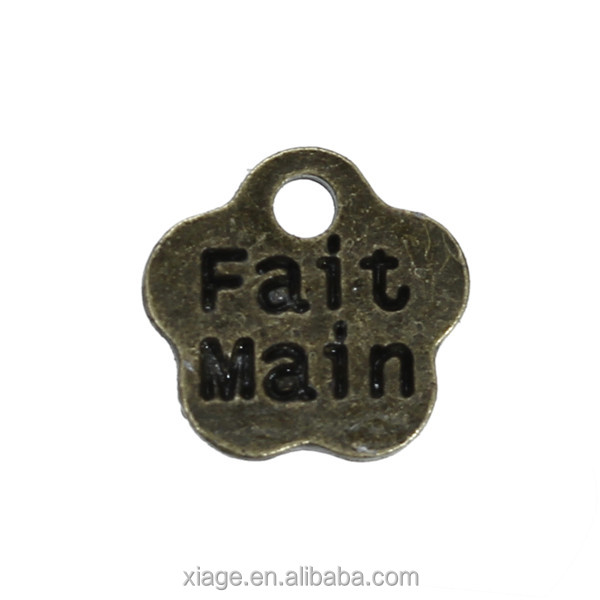 "Zinc Based Alloy <strong>Charms</strong> Flower Antique Bronze Message "" FaitMain "" Carved 8mm x 8mm"