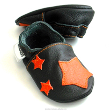 SALE soft sole baby shoes Leather chaussons Krabbelschuhe stars orange black 6 12 m ebooba