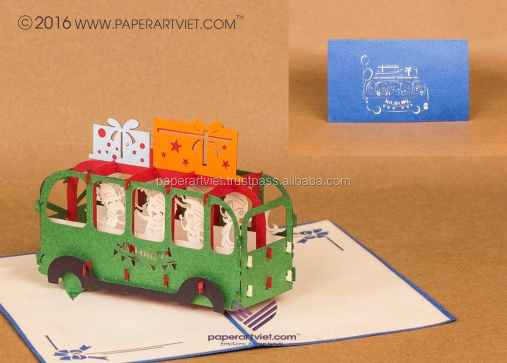 3d pop up card nicely bus stop babies, vehicle christmas card