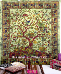 Tree Of Life Tapestry Wall Hanging Green Bedspread Indian Exporter Traditional Home Decorative Tapestries Cotton Picnic Sheet