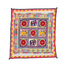 Gujarati chakla Animal Patchwork old kutch Table Cloth Wall Hanging