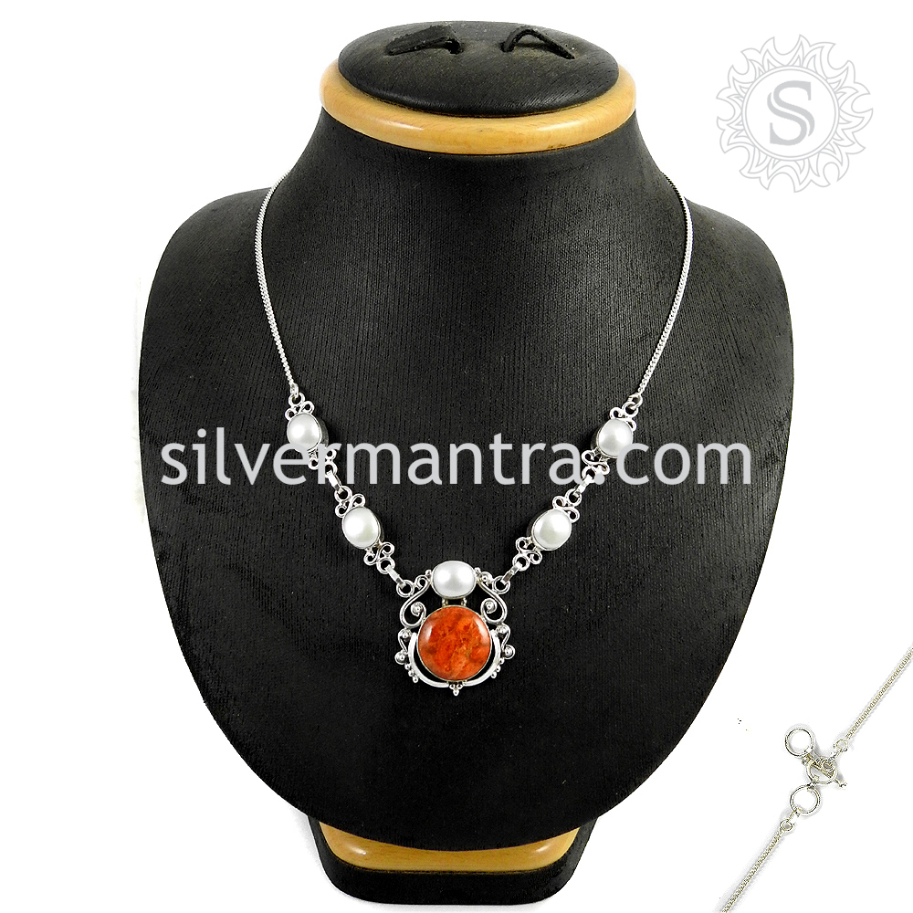 Stunning Sponge Coral, Pearl Necklace 925 Sterling Silver Necklace Wholesaler Silver Jewelry Manufacturer