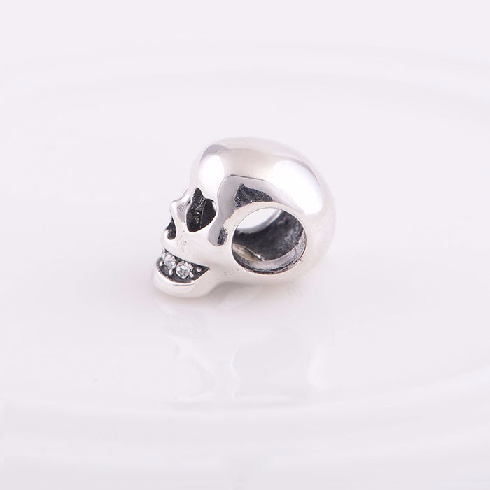 Hallowmas 925 Sterling Silver Skull Beads With Rhinestone