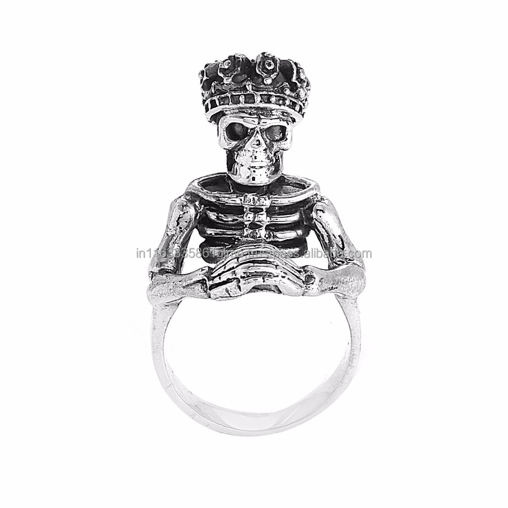 Vintage King Soul With Crown Skull Head Solid 925 Sterling Silver Biker Ring Jewelry, Wholesaler Low Price Skull Ring SHRI0353