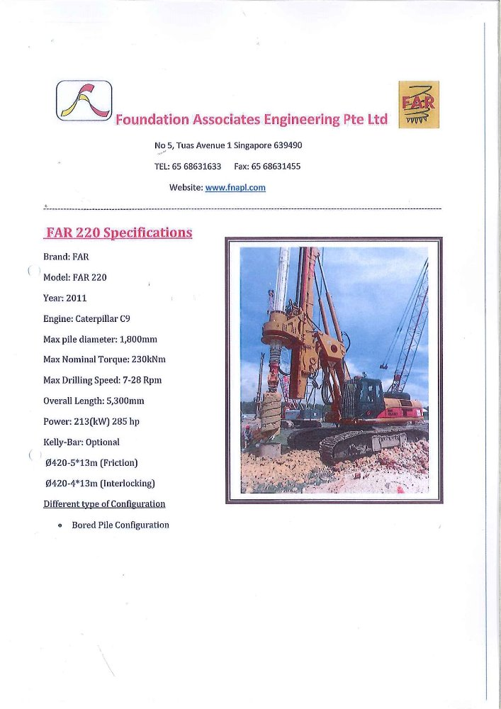 Far 220 Rig, Caterpillar engine year 2011