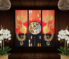 3D Chinese Dragon Resin Painting Handmade Acrylic Wall Art Picture on Canvas with Wood Frame
