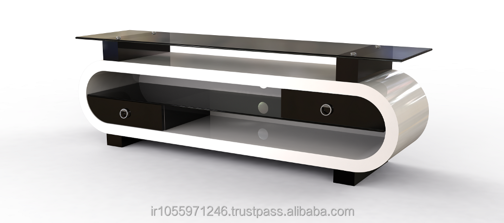 O142 LCD TV Stand , MDF , Luxury ,high-gloss, Bent HPL , Tempered glass , cheap