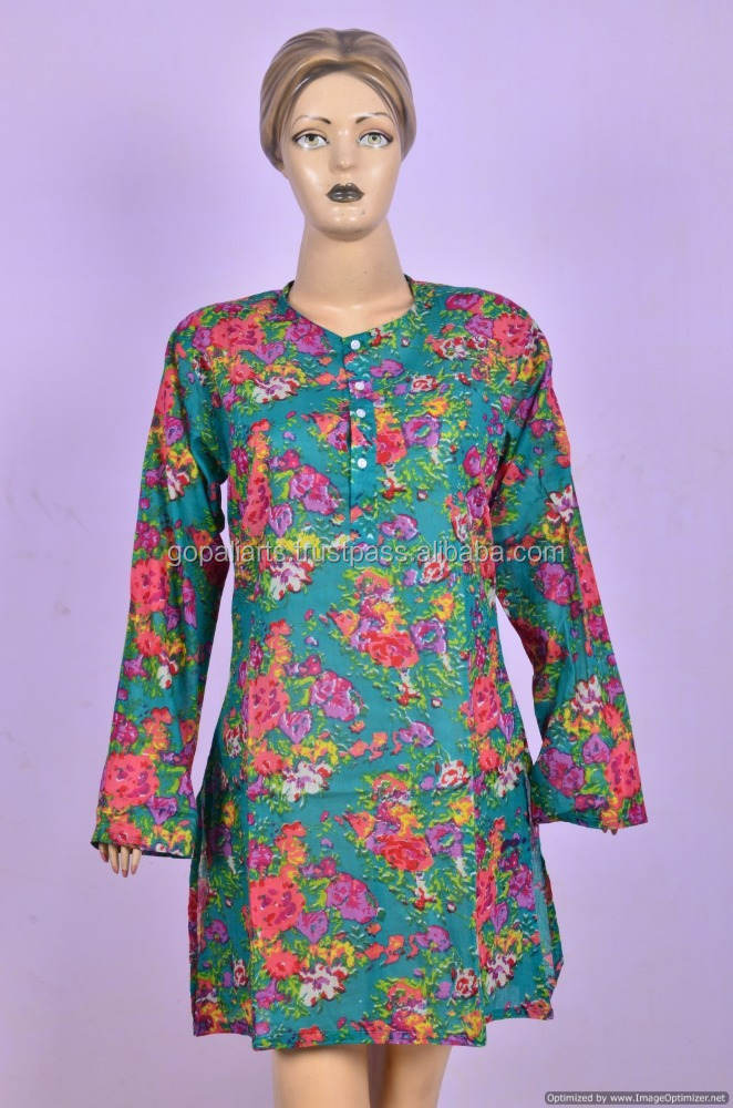 Green Floral Hand Block Printed Kurta Indian Cotton Handmade Top Tunic Kurta