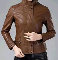 NEW WOMEN SIMPLE AND SMART/ SLIM FIT SHEEP LEATHER JACKET