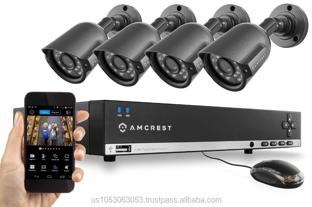 Amcrest 4CH 960H Security System DVR with Pre-Installed 500GB HDD and 4 x 800+ TVL Bullet Cameras
