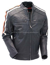 2015 New fashion Vented Scooter Jacket with Dual Gun Pockets and Harley Racing Stripes for mens motorbike leather jacket