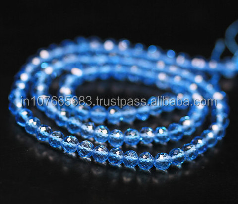 Swiss Blue Topaz Micro Faceted Round Ball Beads