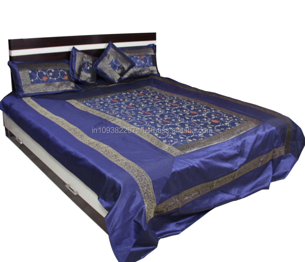 Polyester silk Embrodered Blue Color Bedding Set with Cushion Cover and Pillow Cover